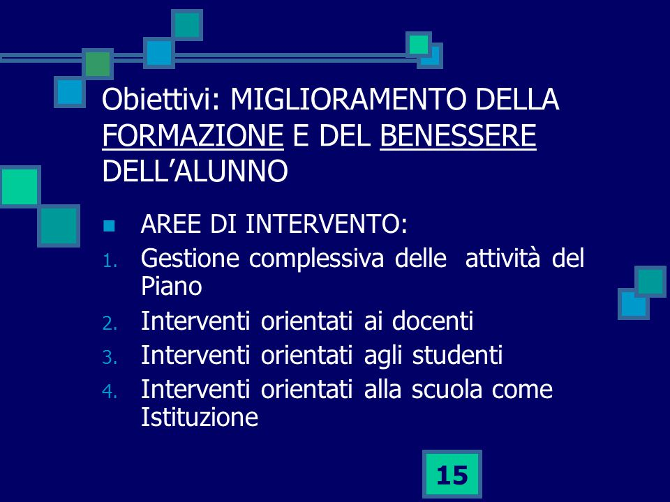 Obiettivi: MIGLIORAMENTO DELLA FORMAZIONE E DEL BENESSERE DELL'ALUNNO