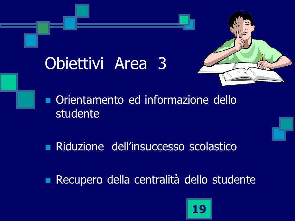 Obiettivi Area 3 Orientamento ed informazione dello studente