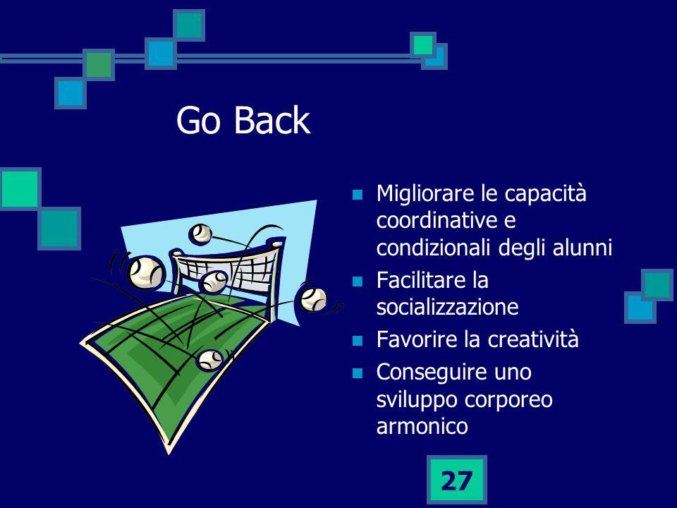 Go Back Migliorare le capacità coordinative e condizionali degli alunni. Facilitare la socializzazione.