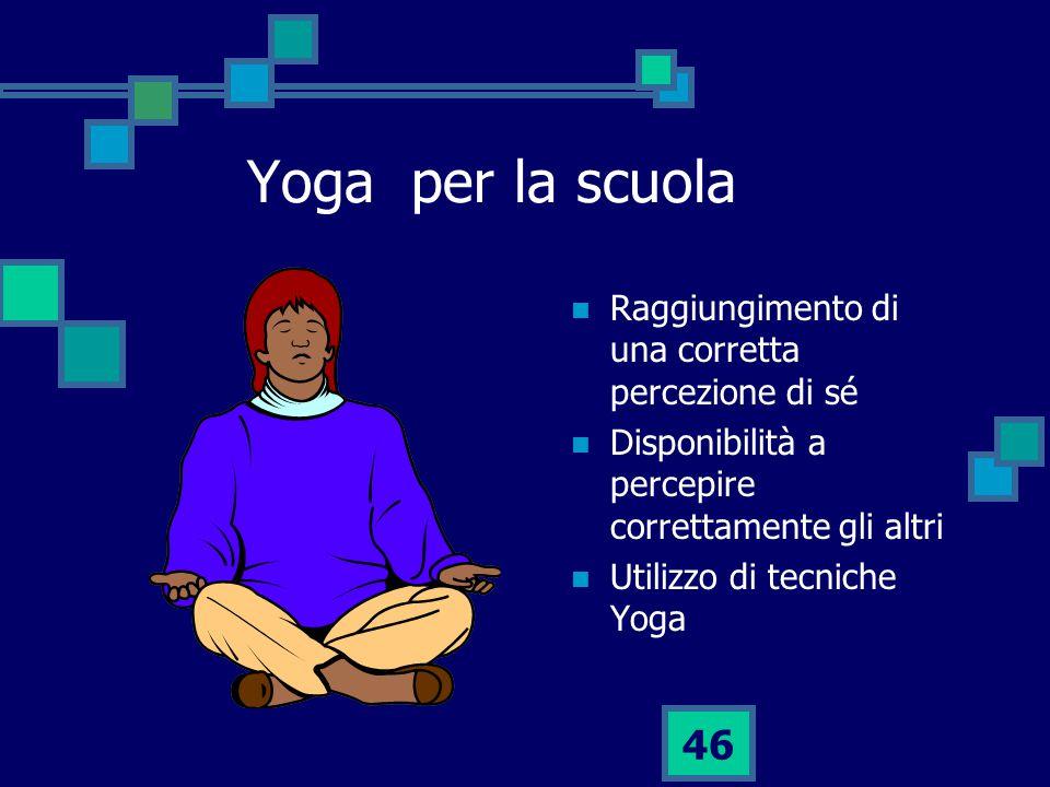 Yoga per la scuola Raggiungimento di una corretta percezione di sé