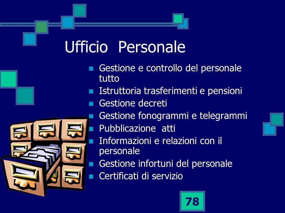 Ufficio Personale Gestione e controllo del personale tutto