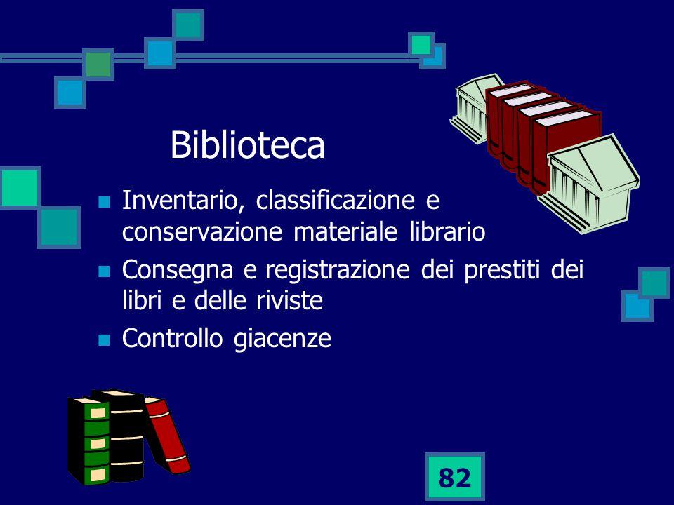 Biblioteca Inventario, classificazione e conservazione materiale librario. Consegna e registrazione dei prestiti dei libri e delle riviste.