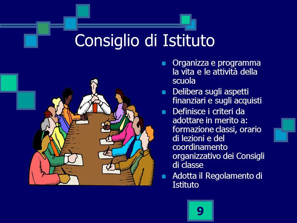 Consiglio di Istituto Organizza e programma la vita e le attività della scuola. Delibera sugli aspetti finanziari e sugli acquisti.