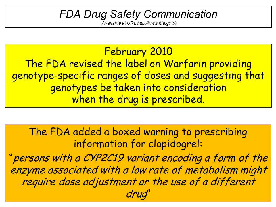 FDA Drug Safety Communication (Available at URL http://www.fda.gov/)