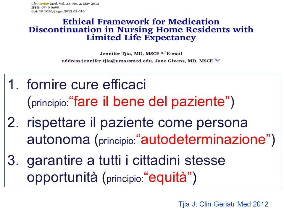fornire cure efficaci (principio: fare il bene del paziente )