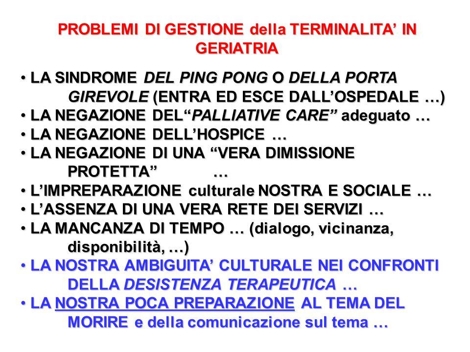 PROBLEMI DI GESTIONE della TERMINALITA' IN GERIATRIA
