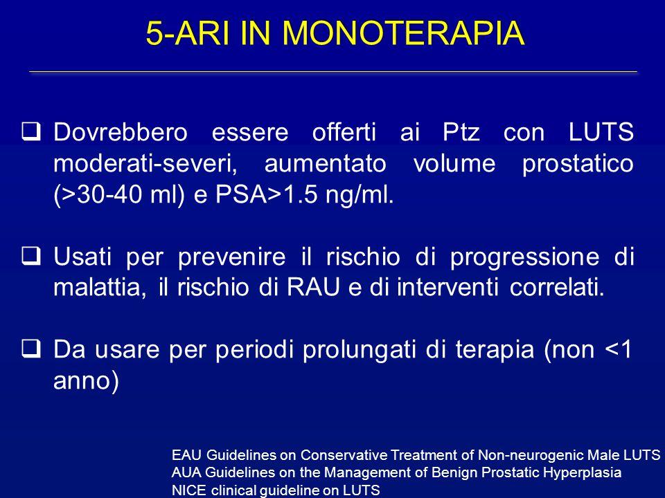 5-ARI IN MONOTERAPIA Dovrebbero essere offerti ai Ptz con LUTS moderati-severi, aumentato volume prostatico (>30-40 ml) e PSA>1.5 ng/ml.