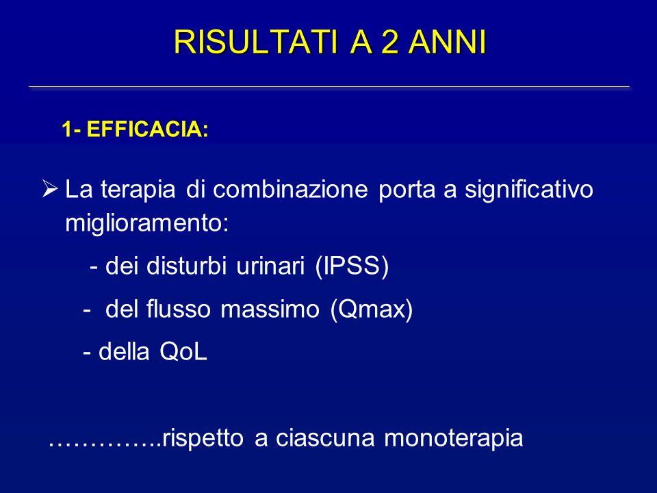 RISULTATI A 2 ANNI 1- EFFICACIA: La terapia di combinazione porta a significativo miglioramento: - dei disturbi urinari (IPSS)