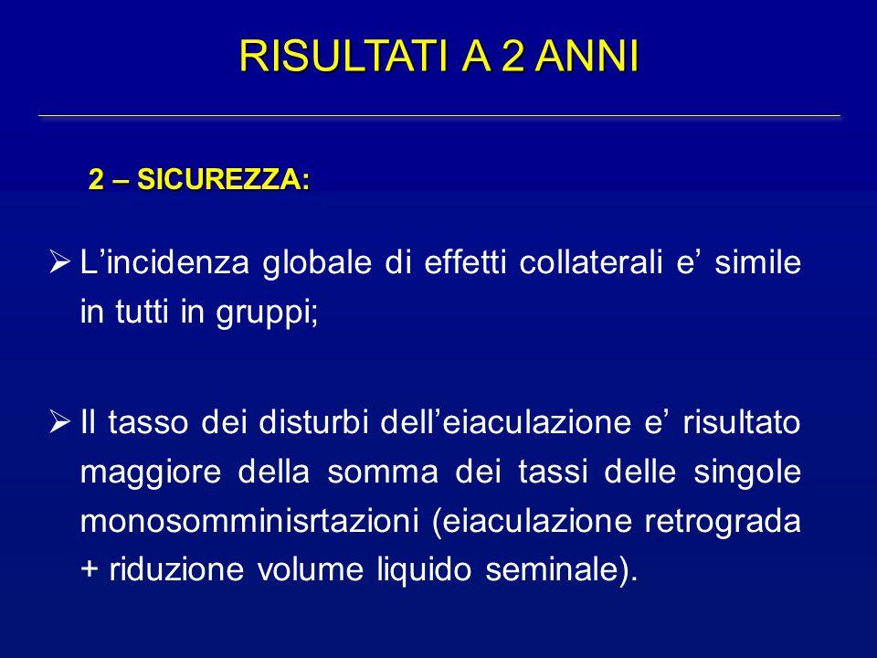 RISULTATI A 2 ANNI 2 – SICUREZZA: L'incidenza globale di effetti collaterali e' simile in tutti in gruppi;