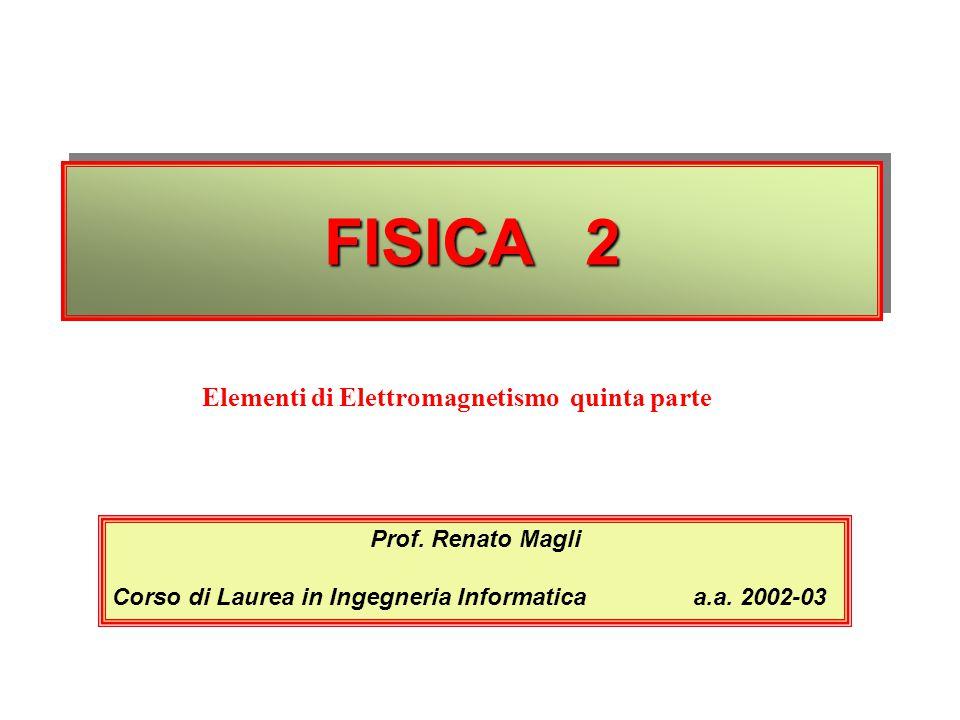 FISICA 2 Elementi di Elettromagnetismo quinta parte Prof. Renato Magli