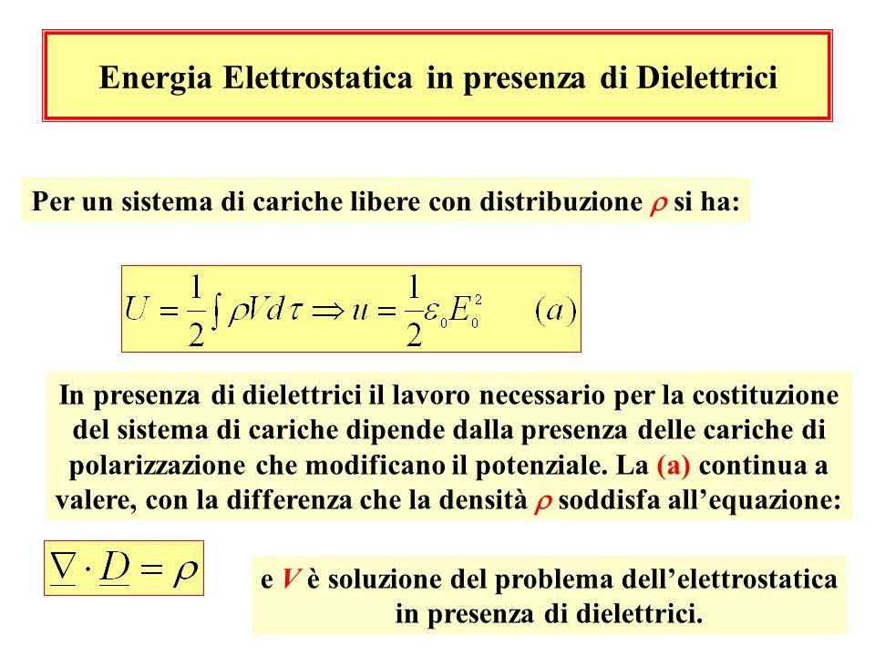 Energia Elettrostatica in presenza di Dielettrici
