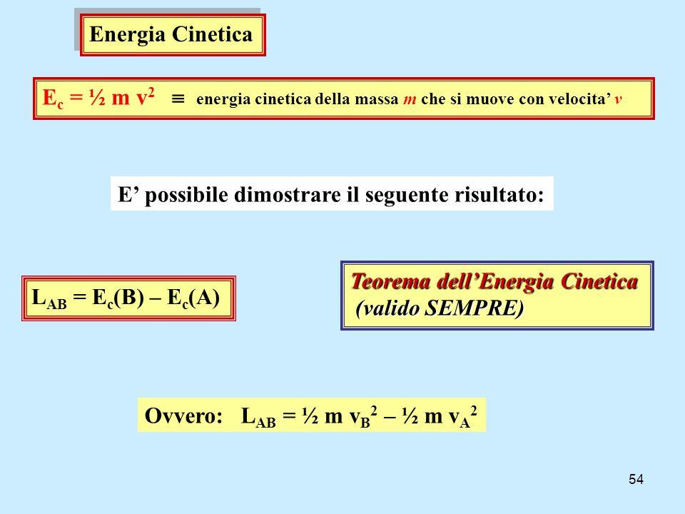 Energia Cinetica Ec = ½ m v2  energia cinetica della massa m che si muove con velocita' v. E' possibile dimostrare il seguente risultato: