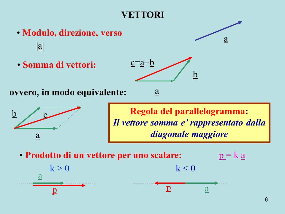 Regola del parallelogramma: Il vettore somma e' rappresentato dalla