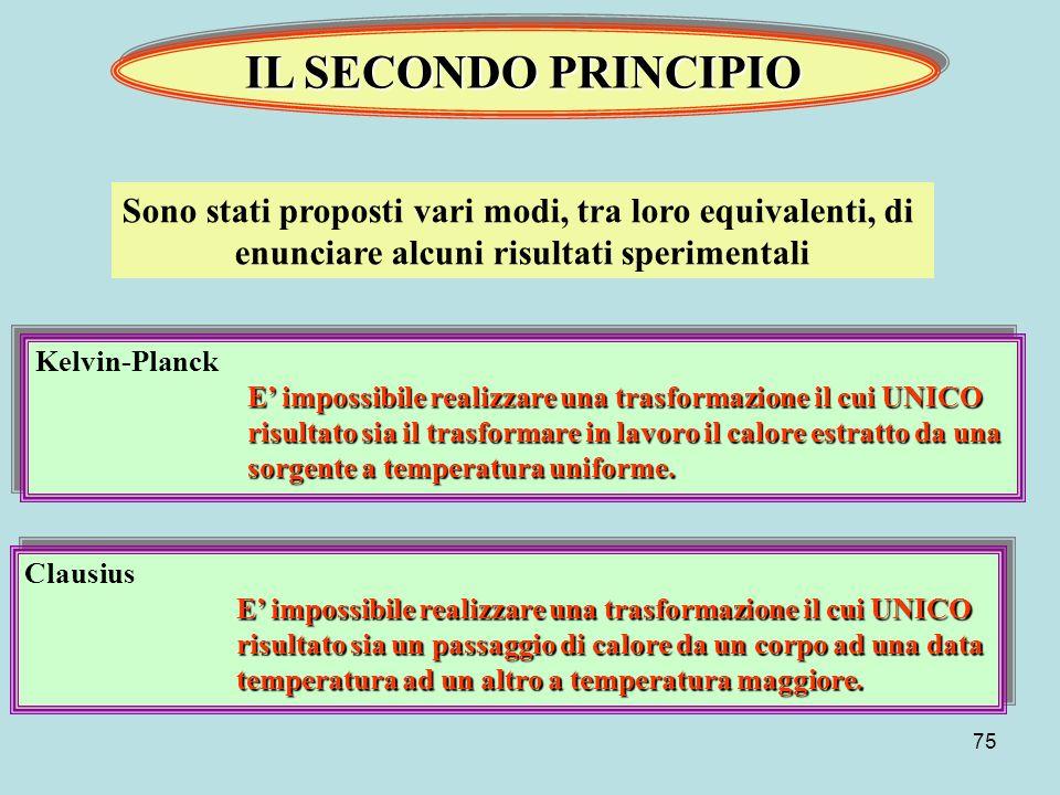 IL SECONDO PRINCIPIO Sono stati proposti vari modi, tra loro equivalenti, di. enunciare alcuni risultati sperimentali.