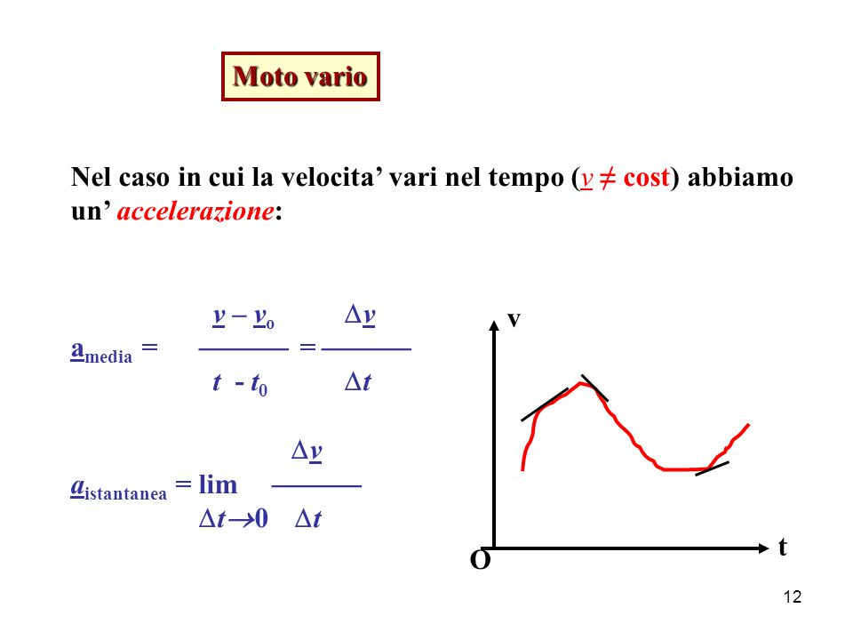 Moto vario Nel caso in cui la velocita' vari nel tempo (v ≠ cost) abbiamo. un' accelerazione: v – vo v.