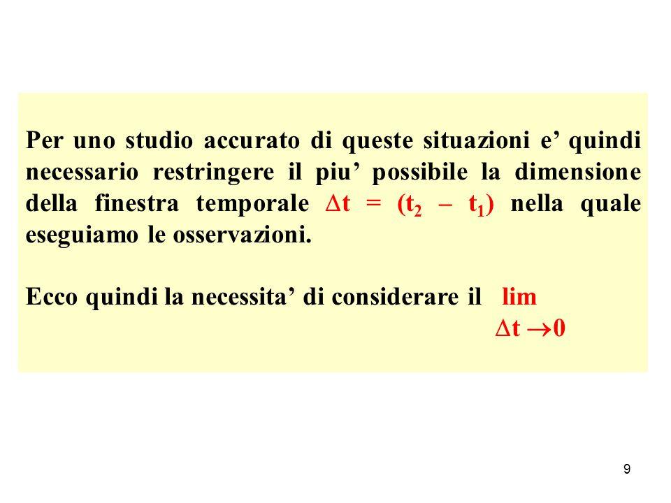 Per uno studio accurato di queste situazioni e' quindi necessario restringere il piu' possibile la dimensione della finestra temporale t = (t2 – t1) nella quale eseguiamo le osservazioni.