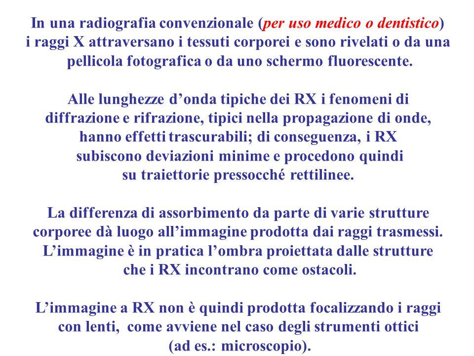 In una radiografia convenzionale (per uso medico o dentistico)