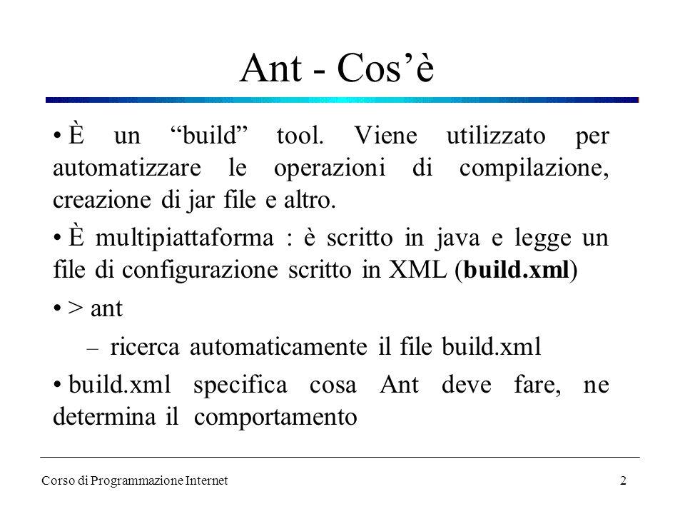 Ant - Cos'è È un build tool. Viene utilizzato per automatizzare le operazioni di compilazione, creazione di jar file e altro.