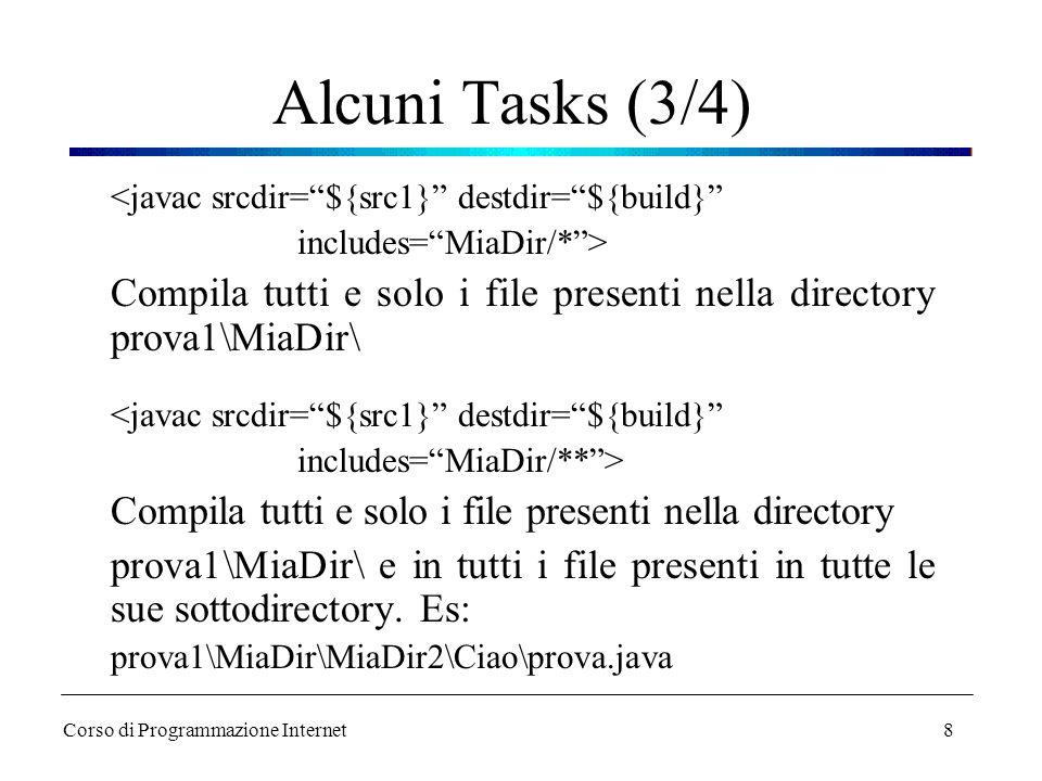 Alcuni Tasks (3/4) <javac srcdir= ${src1} destdir= ${build} includes= MiaDir/* >