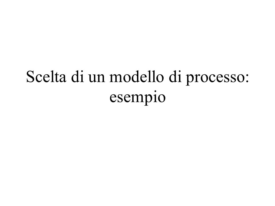 Scelta di un modello di processo: esempio