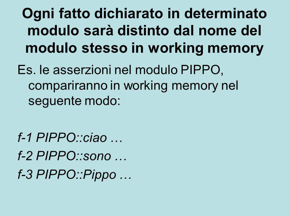 Ogni fatto dichiarato in determinato modulo sarà distinto dal nome del modulo stesso in working memory