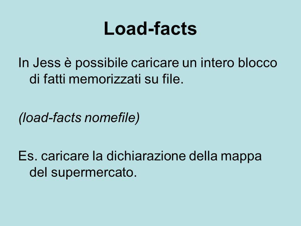 Load-facts In Jess è possibile caricare un intero blocco di fatti memorizzati su file. (load-facts nomefile)