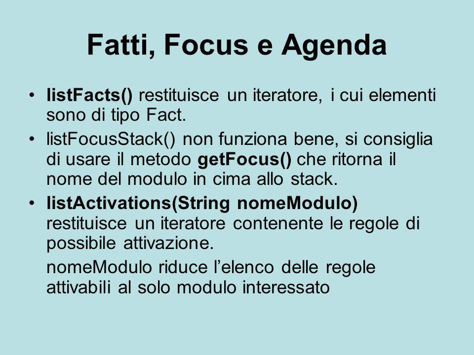 Fatti, Focus e Agenda listFacts() restituisce un iteratore, i cui elementi sono di tipo Fact.