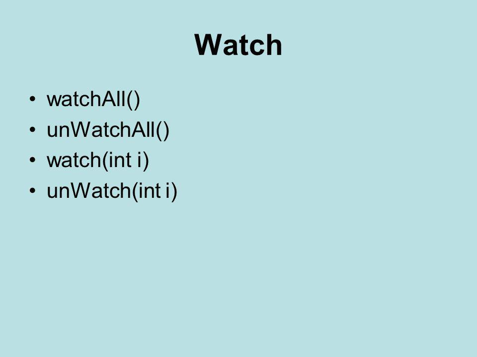 Watch watchAll() unWatchAll() watch(int i) unWatch(int i)