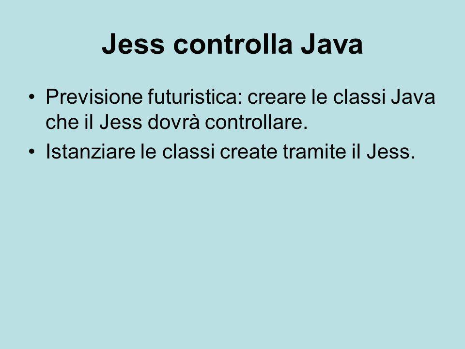 Jess controlla Java Previsione futuristica: creare le classi Java che il Jess dovrà controllare.