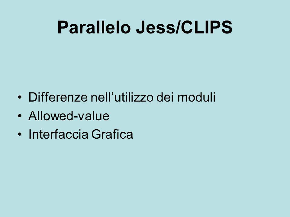 Parallelo Jess/CLIPS Differenze nell'utilizzo dei moduli Allowed-value