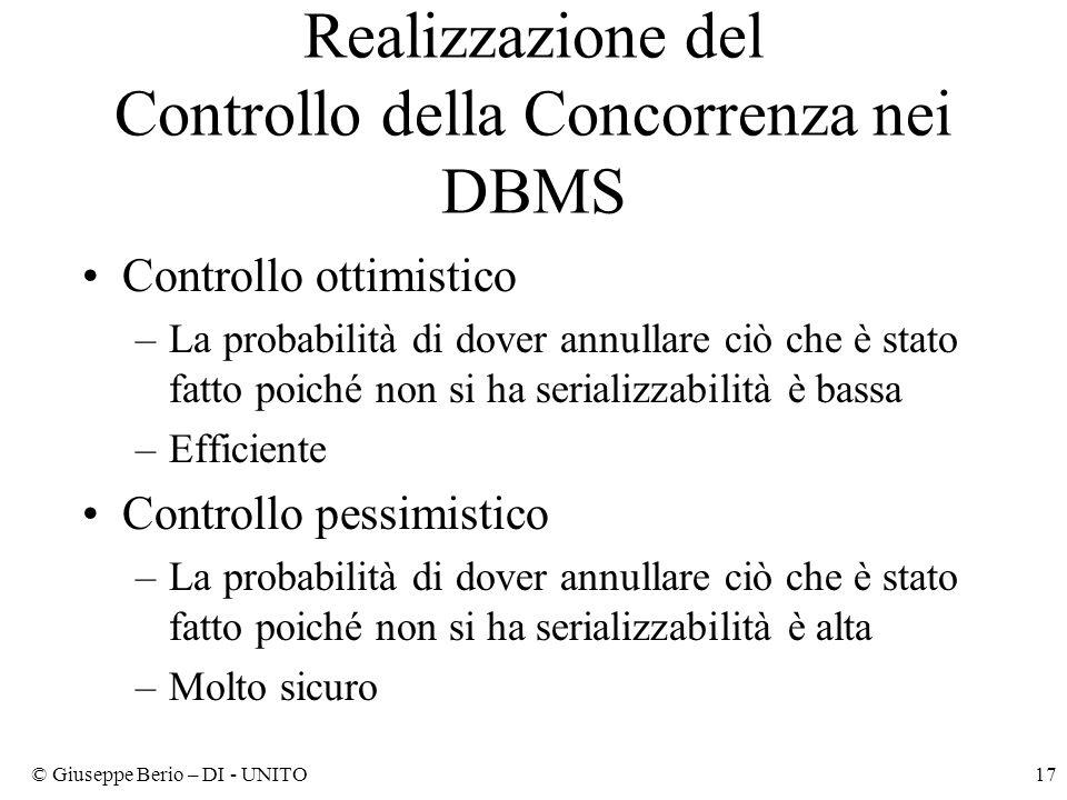 Realizzazione del Controllo della Concorrenza nei DBMS
