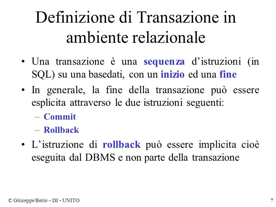 Definizione di Transazione in ambiente relazionale