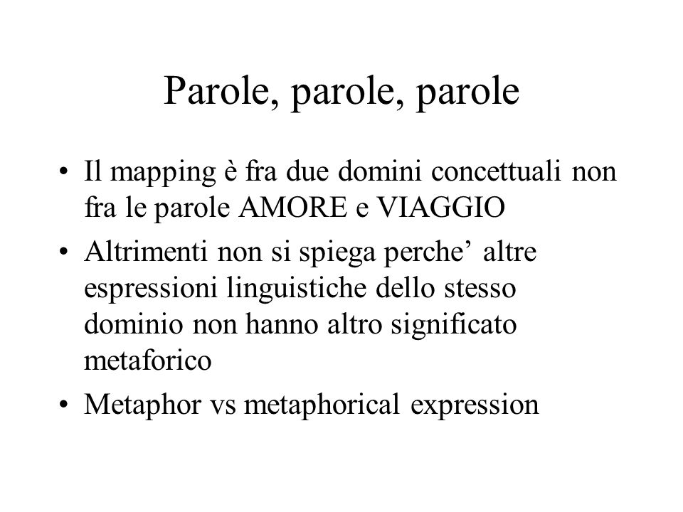 Parole, parole, parole Il mapping è fra due domini concettuali non fra le parole AMORE e VIAGGIO.