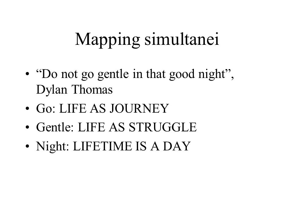 Mapping simultanei Do not go gentle in that good night , Dylan Thomas