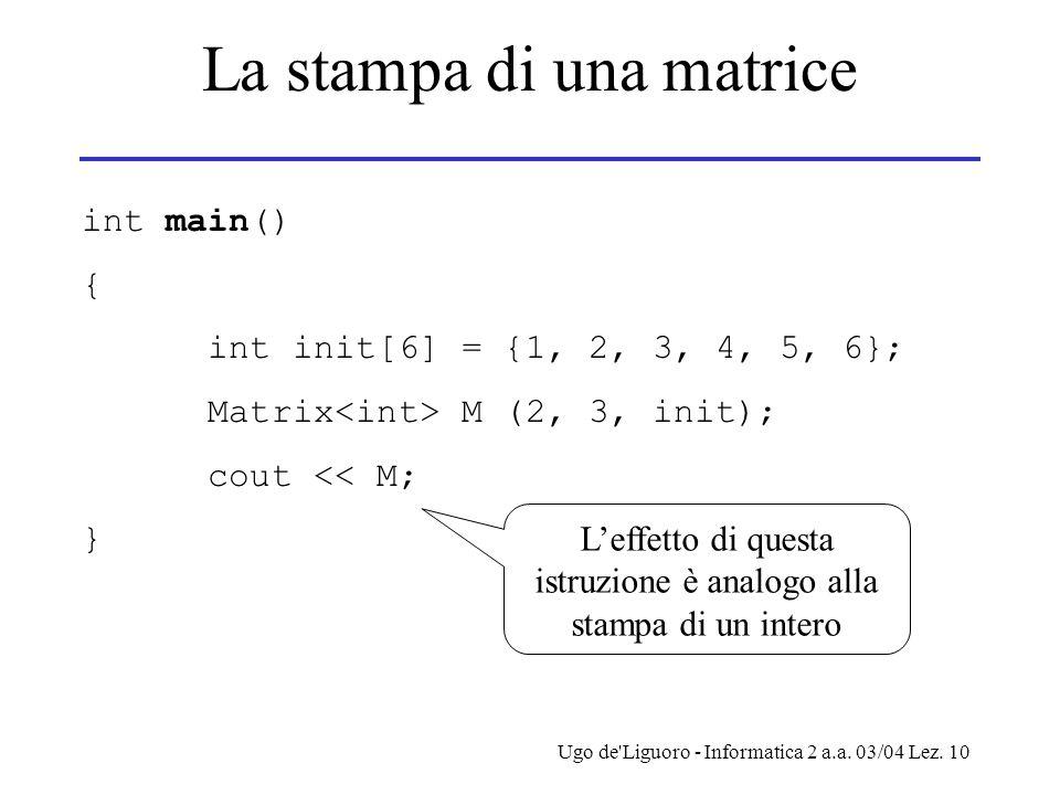 La stampa di una matrice