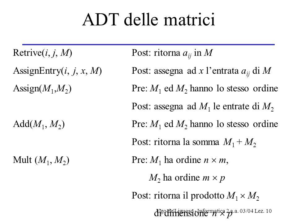 ADT delle matrici Retrive(i, j, M) Post: ritorna aij in M