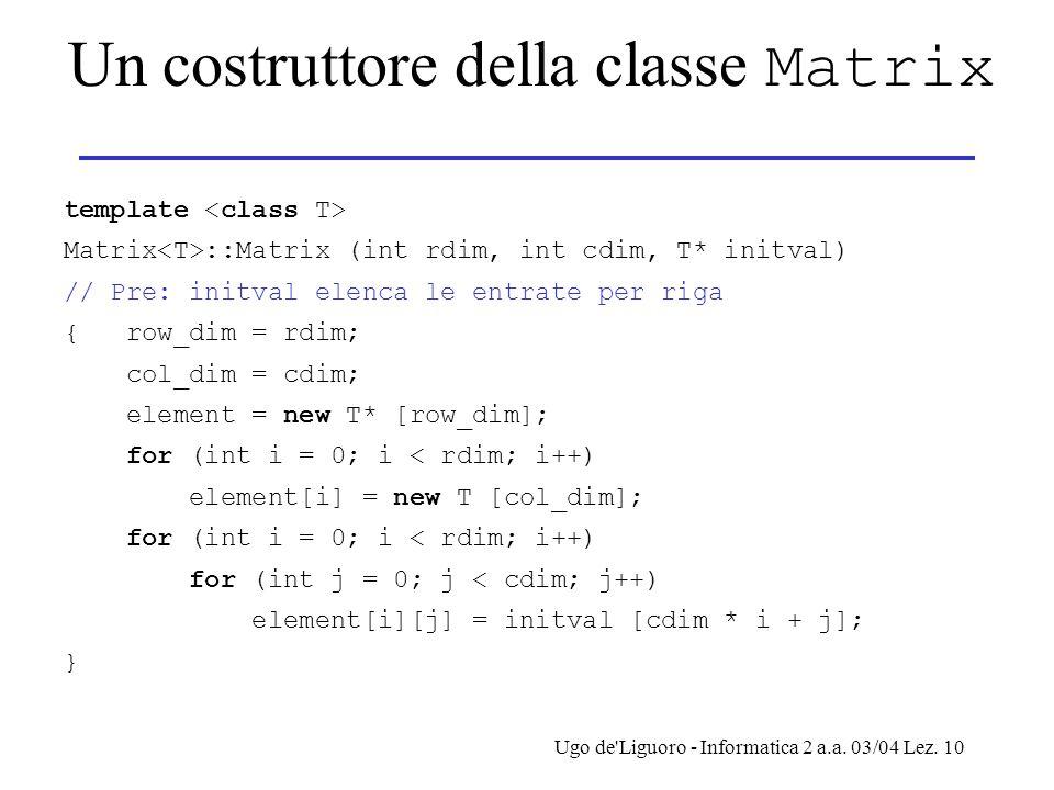 Un costruttore della classe Matrix