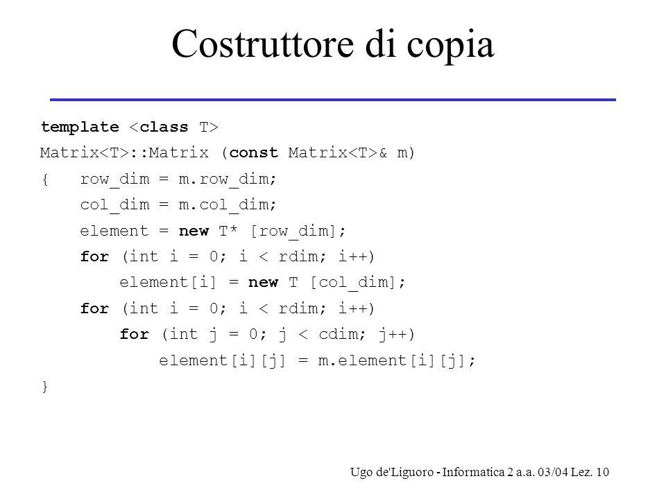 Costruttore di copia template <class T>