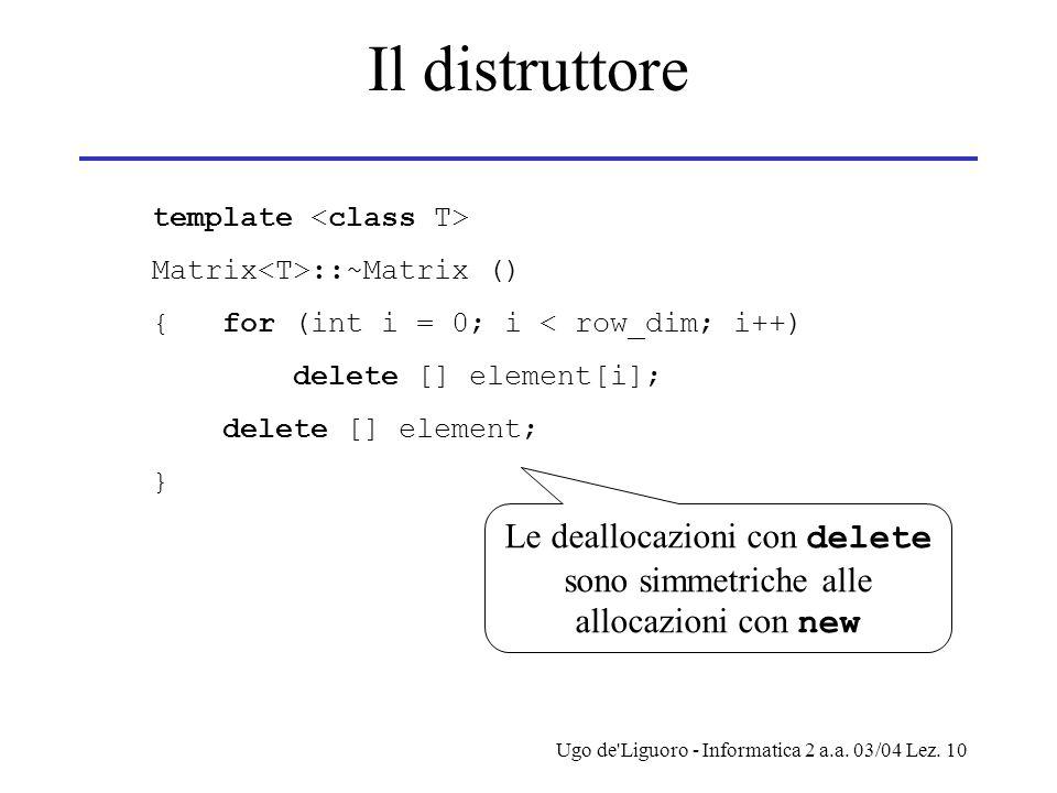 Le deallocazioni con delete sono simmetriche alle allocazioni con new