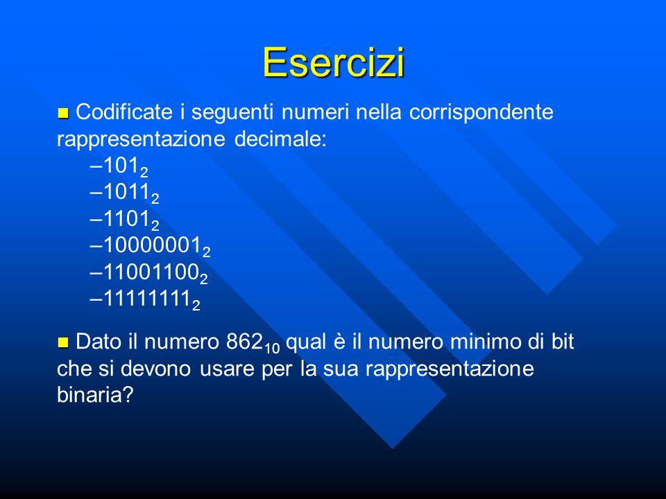 Esercizi Codificate i seguenti numeri nella corrispondente rappresentazione decimale: 1012. 10112.