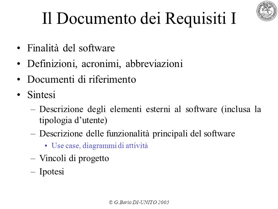 Il Documento dei Requisiti I
