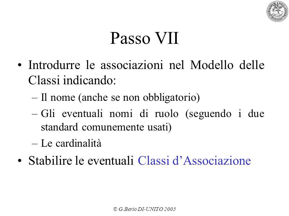 Passo VII Introdurre le associazioni nel Modello delle Classi indicando: Il nome (anche se non obbligatorio)