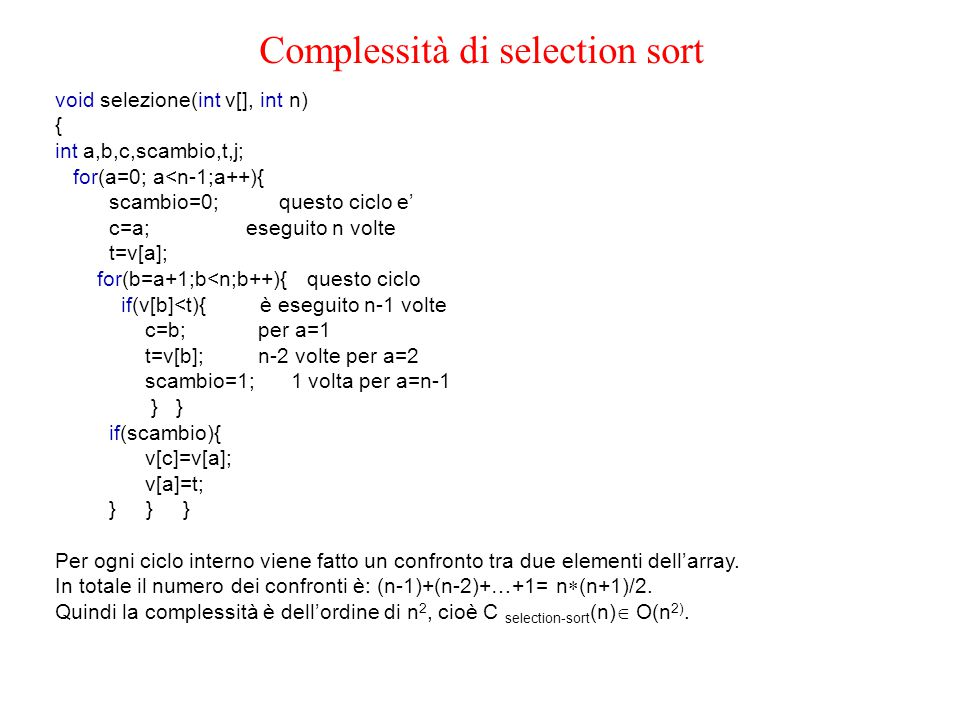 Complessità di selection sort