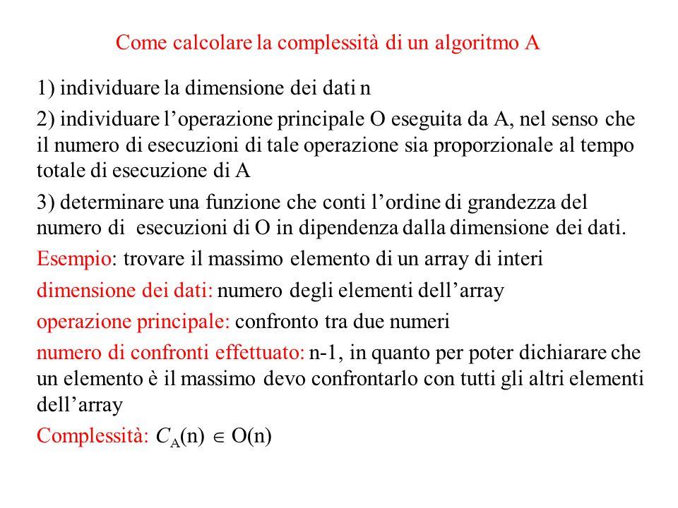 Come calcolare la complessità di un algoritmo A
