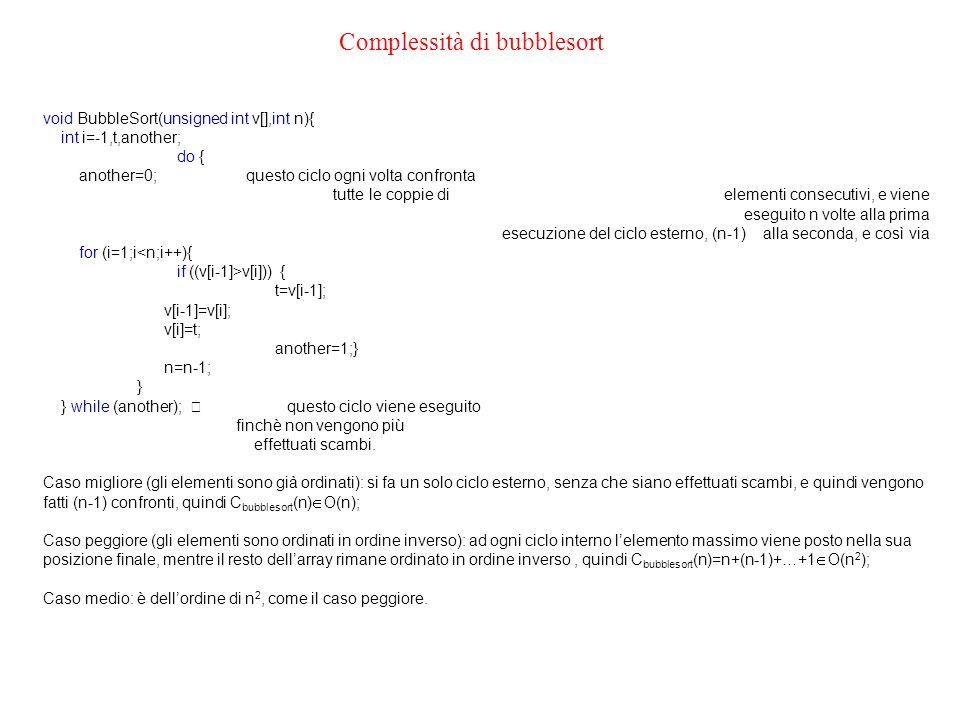 Complessità di bubblesort