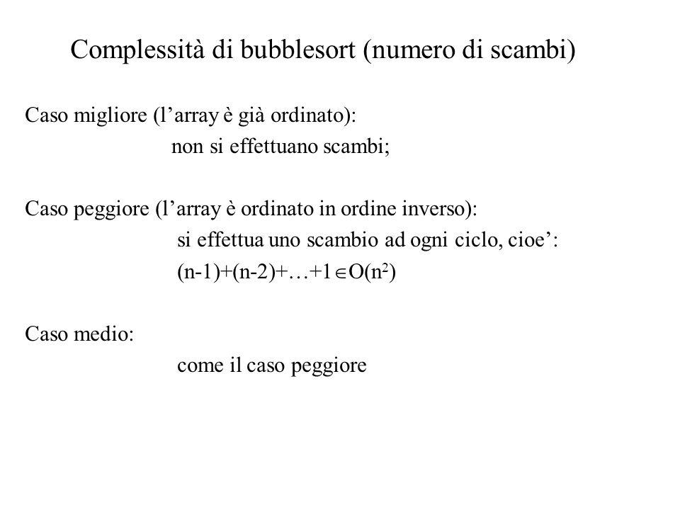 Complessità di bubblesort (numero di scambi)