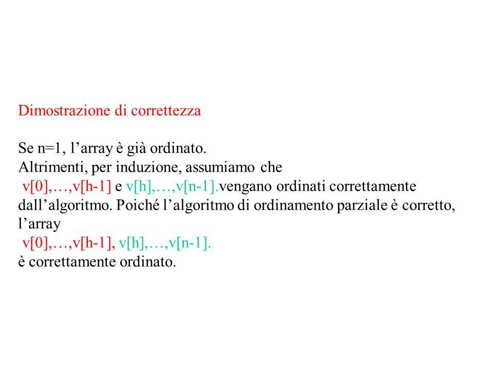Dimostrazione di correttezza Se n=1, l'array è già ordinato