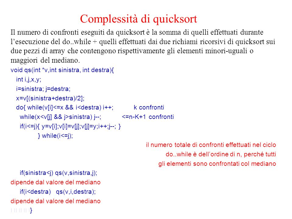 Complessità di quicksort