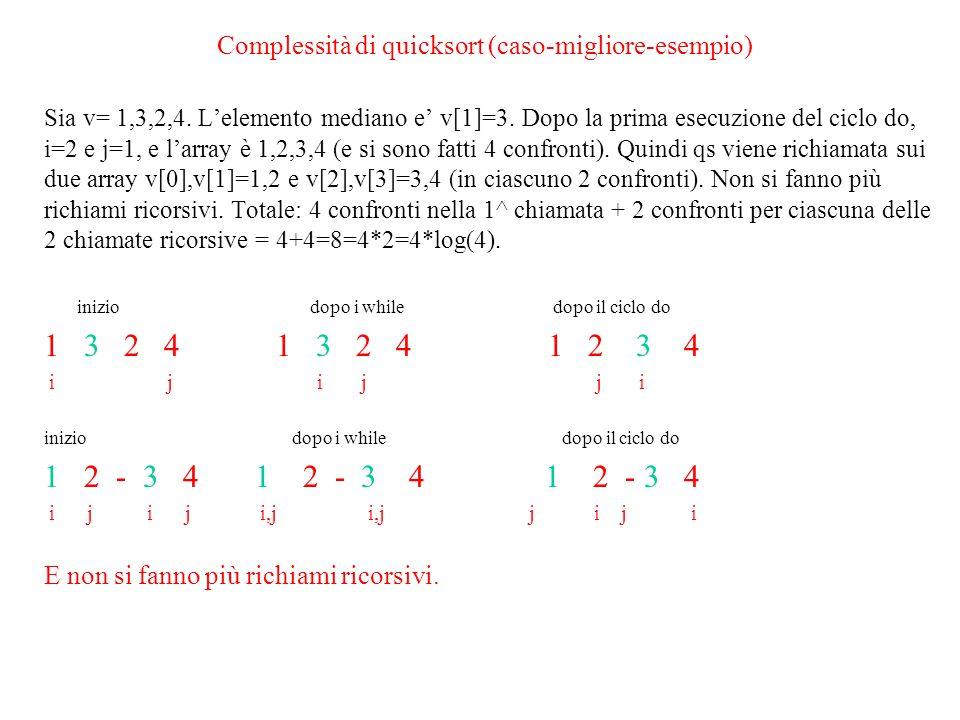 Complessità di quicksort (caso-migliore-esempio)