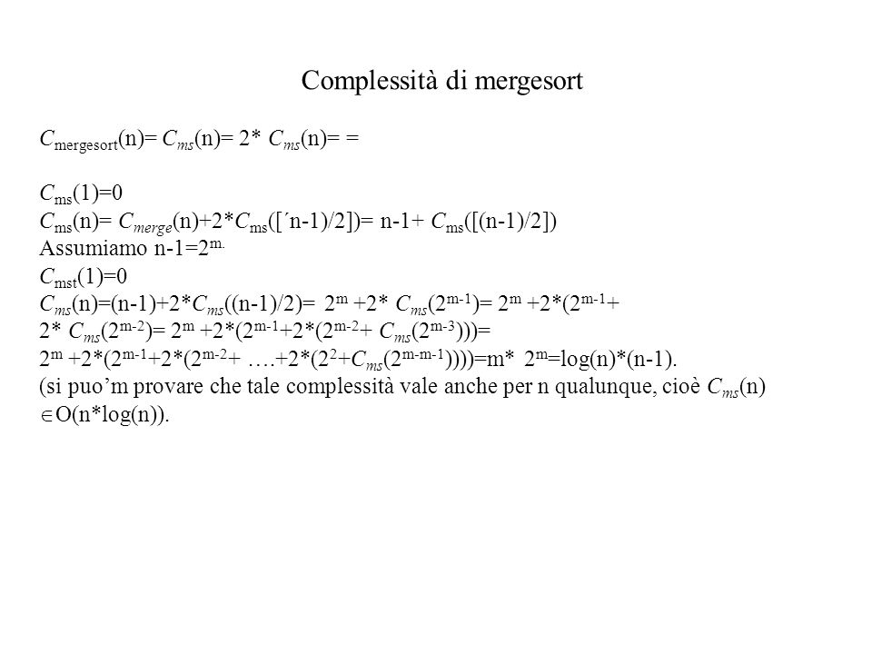 Complessità di mergesort